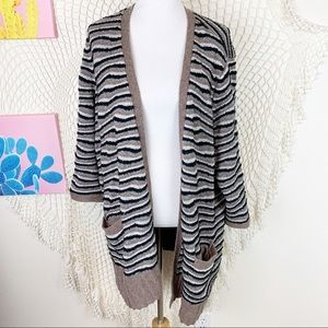 Sejour brown striped open front cardigan 3x